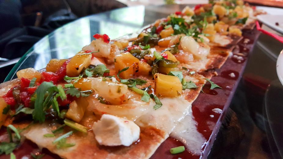 Happy Hour at Cantina Laredo - Shrimp Flatbread
